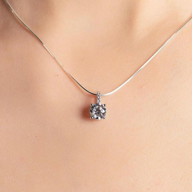 Pave Silver Jewelry Necklace  1.5卡碎鑽吊墜頸鏈 (JN013)