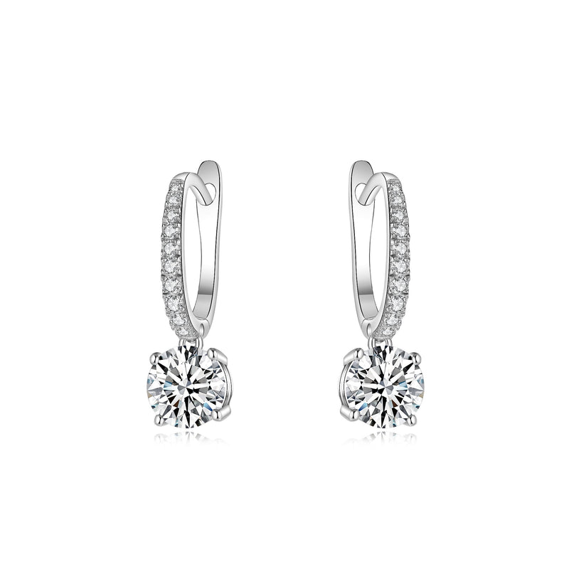 Classic Pave Round Cut 4 Claws Earrings (JE003)
