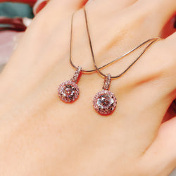 Pink Halo Setting Jewelry Necklace 粉红光環吊墜頸鏈 (JN027)