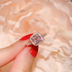 Pink Cushion Halo Pave Solitaire Ring (JR075)