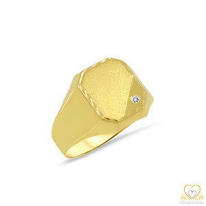 19,2ct Yellow Gold Square Men´s Signet Ring AN0949