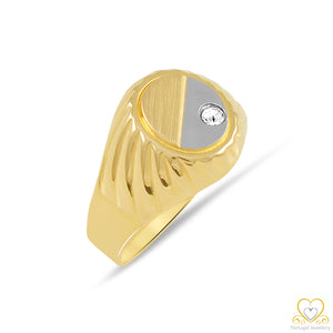 19.2ct Yellow and White Men`s Gold Ring AN1024
