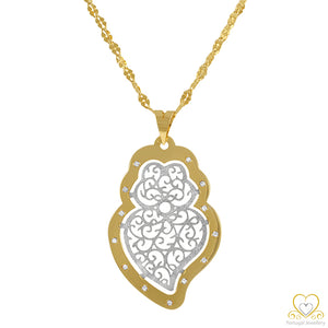 19.2ct White and Yellow Gold Filigree Heart Pendant CO67059