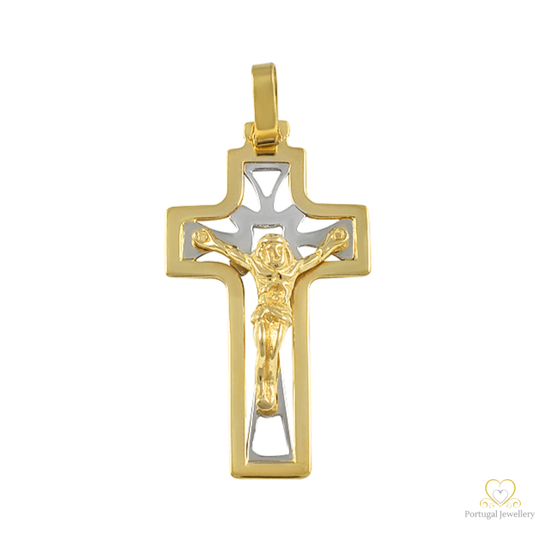 19.2ct Yellow and White Gold Cross Pendant CR0140