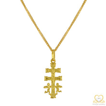 Load image into Gallery viewer, 19.2ct Gold Caravaca Double Angels Crucifix Cross Pendant ME006