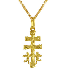 19.2ct Gold Caravaca Double Angels Crucifix Cross Pendant ME006
