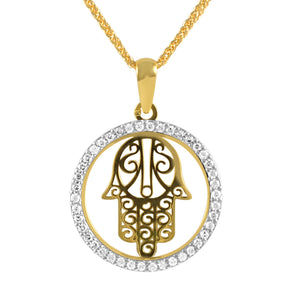 19.2ct Gold Hand of Fatima Pendant ME0760