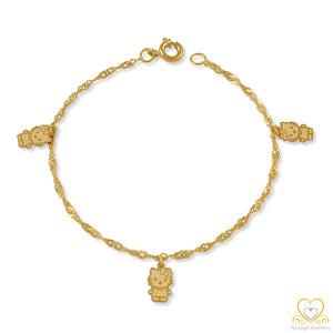 19.2ct Gold Children's Kitty Bracelet PC0153