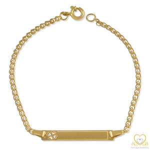 9ct Yellow Gold Children's Lucky Clover ID Bracelet PC0243