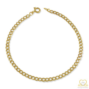 9ct Yellow Gold 3MM Cuban link Bracelet PU0198