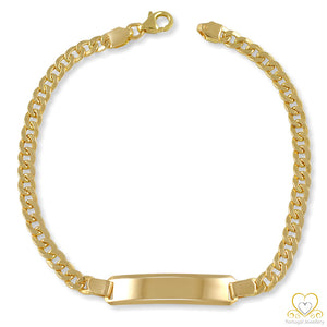 19.2ct Yellow Gold 4MM Hollow ID Cuban link Bracelet PU0570