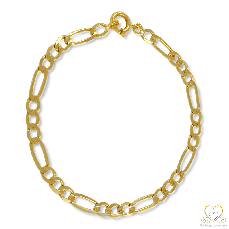 19.2ct Yellow Gold 5MM Figaro Bracelet PU81007