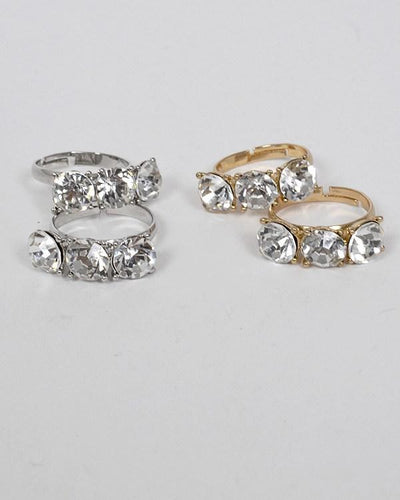 Set of Two Small Crystal Studded Ring - Absolute Fashion 2020
