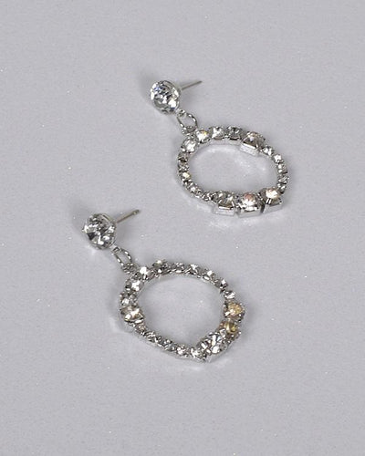 Crystal Inset Rhinestone Studded Circular Drop Earring - Absolute Fashion 2020