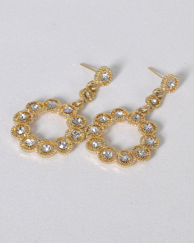 Stylish Ring Design Crystal Studded Drop Earrings - Absolute Fashion 2020