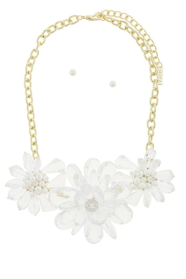 Clustered faux pearl flower statement necklace set - Absolute Fashion 2020