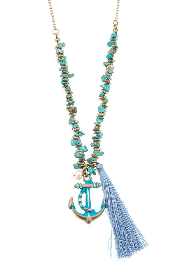Anchor tassel pendant chipped gem necklace set - Absolute Fashion 2020