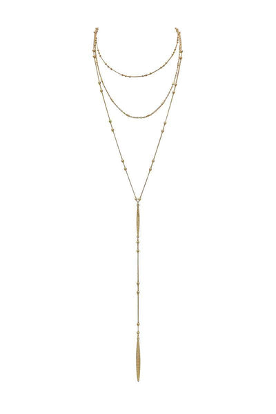 Metal beaded y shape multi layered necklace - Absolute Fashion 2020