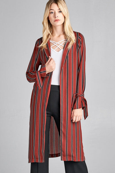 Ladies fashion long sleeve notched collar side slit multi stripe long jacket - Absolute Fashion 2020