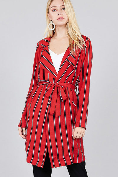 Ladies fashion long sleeve notched collar w/waist belt multi striped long woven jacket - Absolute Fashion 2020