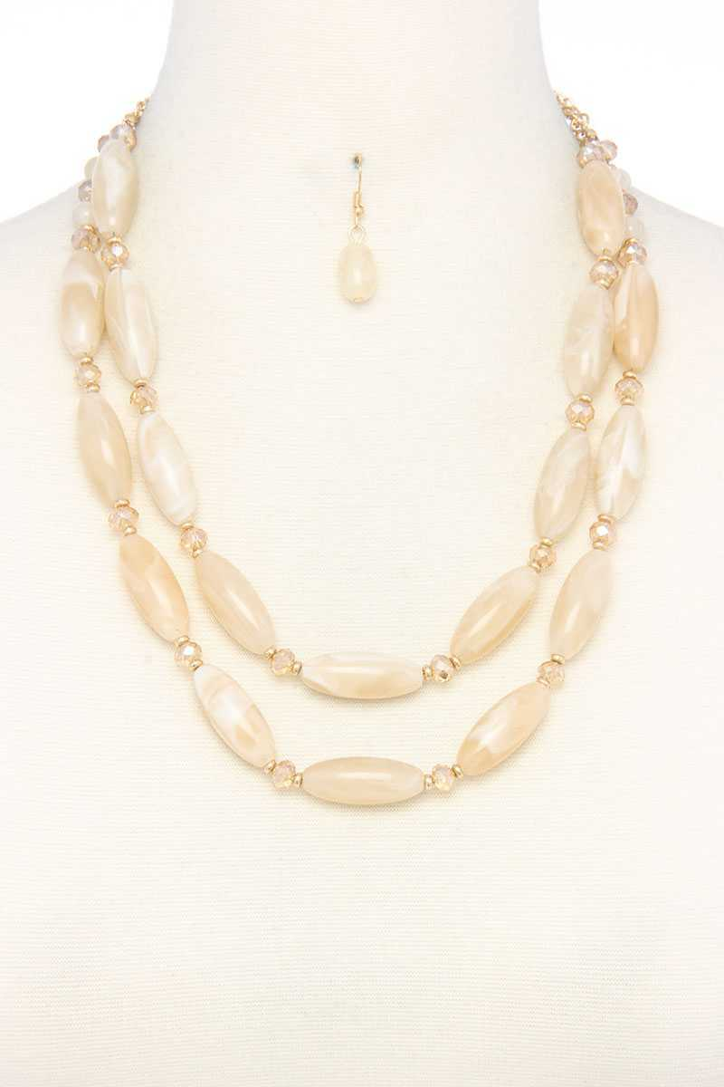 Oval Bead Layered Necklace - Absolute Fashion 2020