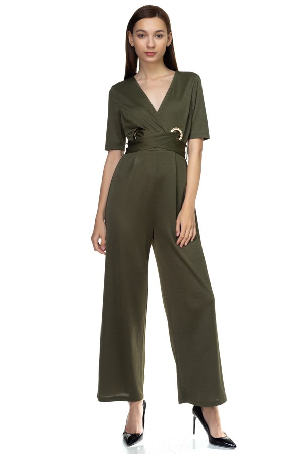 Grommets Belted Jumpsuit - Absolute Fashion 2020