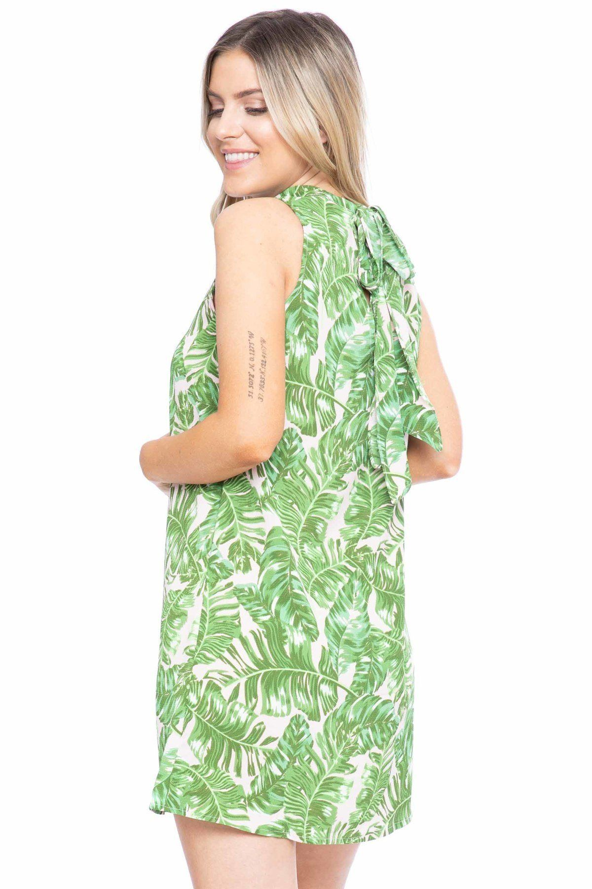 Hawaiian Leaf Print, Sleeveless, A-line Dress - Absolute Fashion 2020