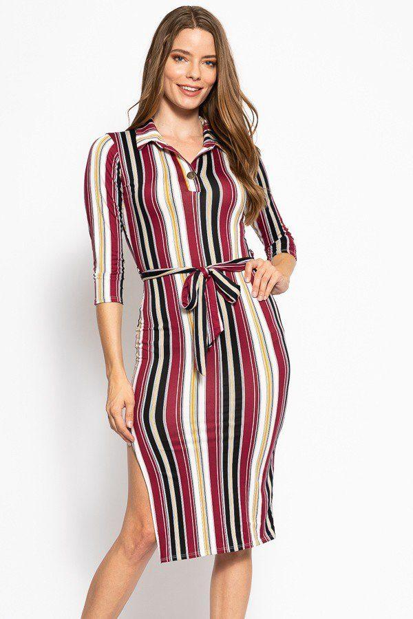 Stripes Print, Midi Tee Dress With 3/4 Sleeves, Collared V Neckline, Decorative Button, Matching Belt And A Side Slit - Absolute Fashion 2020
