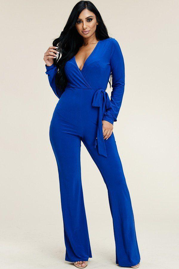 Solid Long Sleeve Wide Leg Jumpsuit With Tie Waist - Absolute Fashion 2020