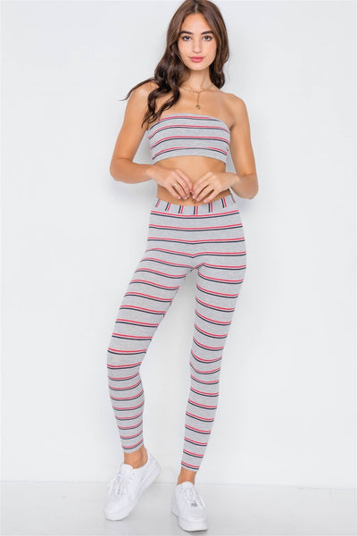 Multi Stripe Ribbed Crop Tube Top & Ankle Legging Set - Absolute Fashion 2020