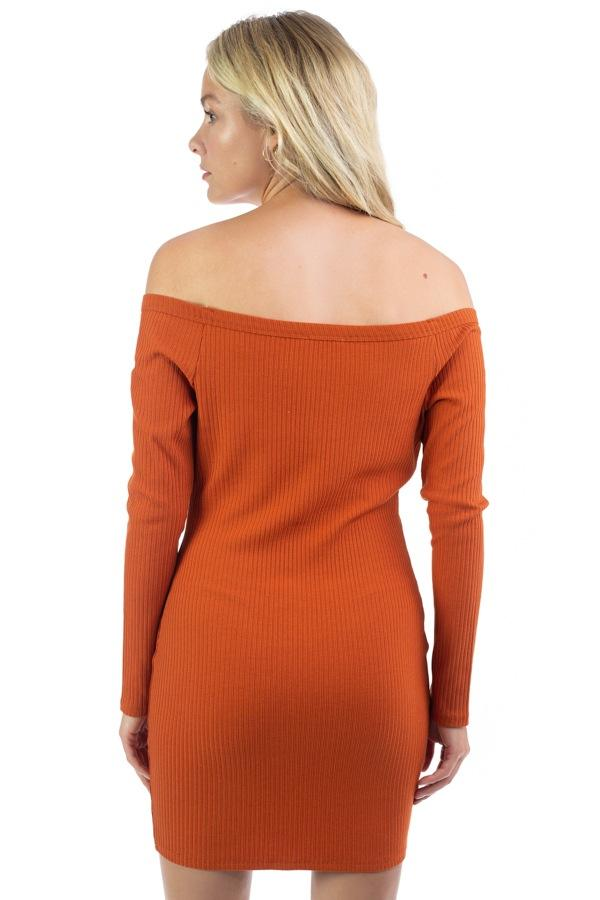 Off Shoulder Ribbed Dress - Absolute Fashion 2020