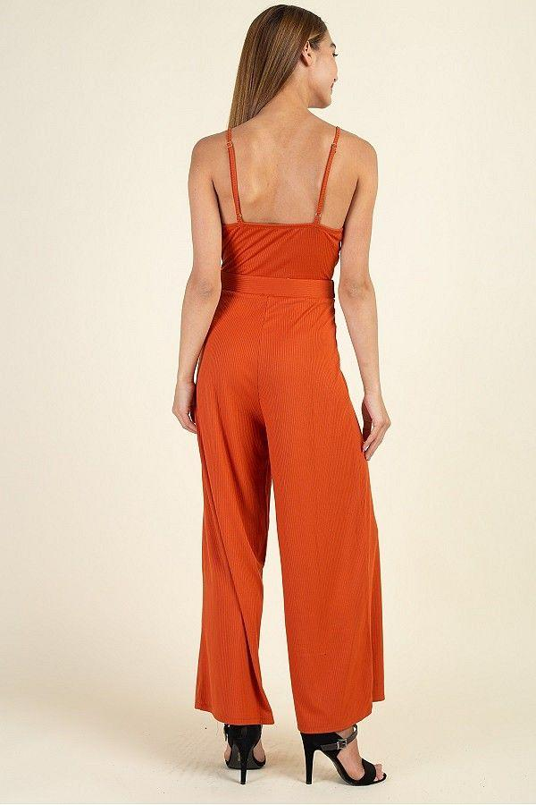 Waist Side Belt Rib Jumpsuit - Absolute Fashion 2020