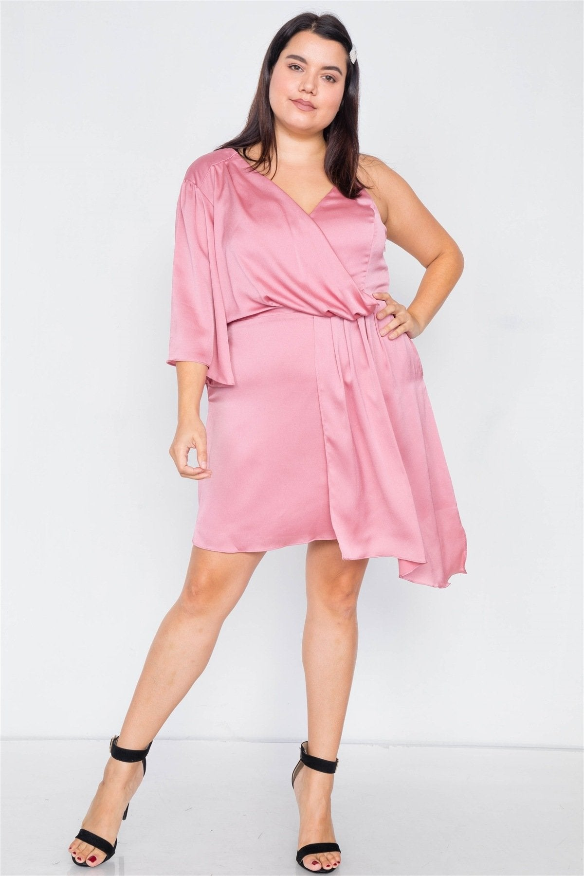 Plus Size  Silk One Shoulder Mini Dress - Absolute Fashion 2020