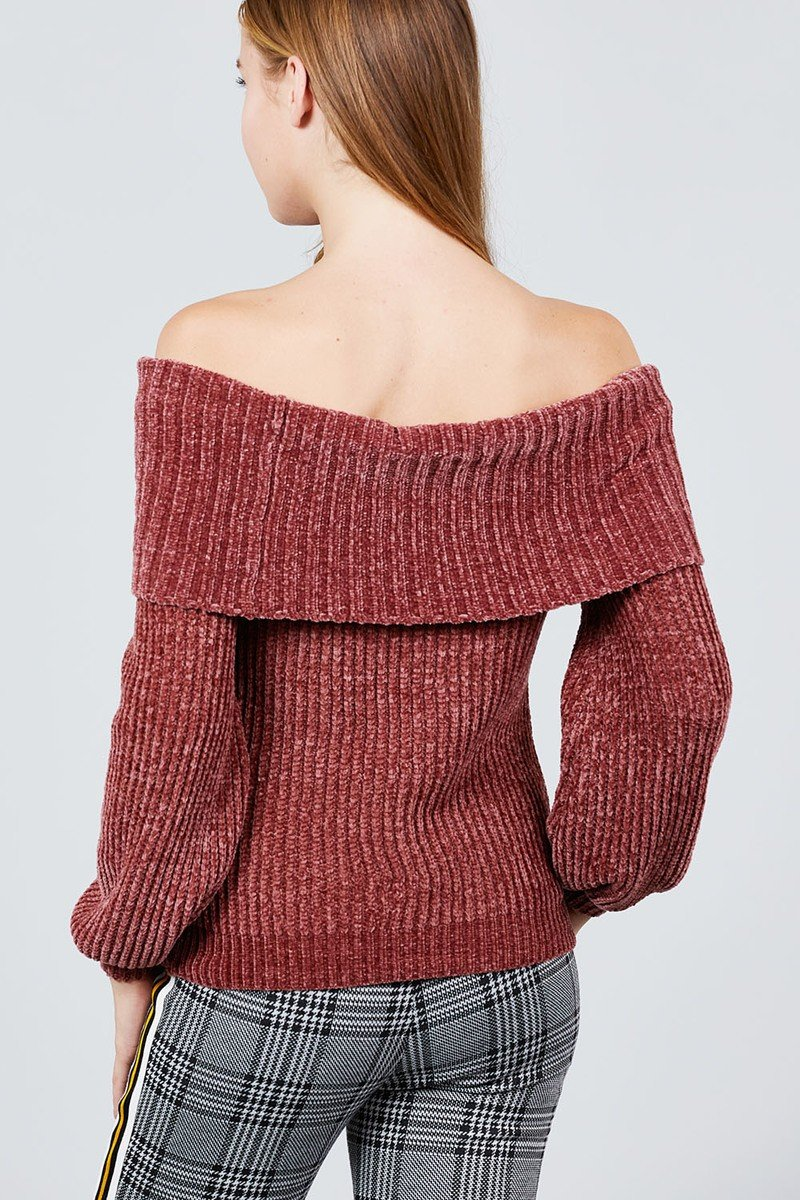 Long Sleeve Fold Over Off The Shoulder Chenille Sweater - Absolute Fashion 2020