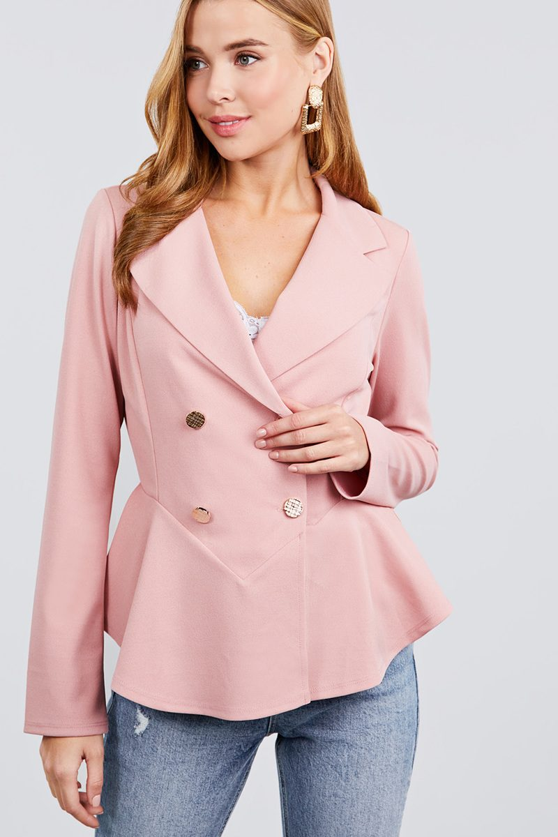 Long Sleeve Notched Lapel Collar Double Breasted Ruffle Hem Jacket - Absolute Fashion 2020