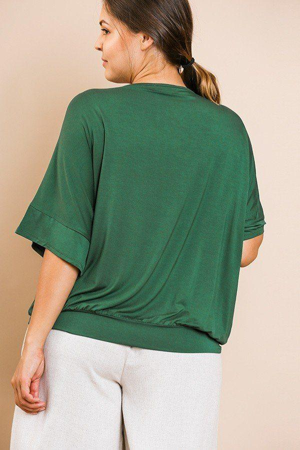 Short Bell Sleeve Basic V-neck Top - Absolute Fashion 2020