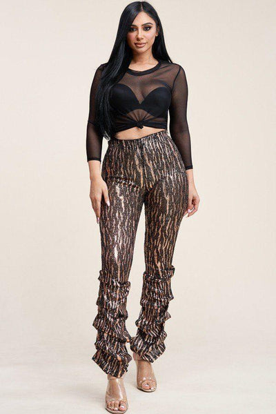Sequin High Rise Stacked Pant And 3/4 Sleeve Power Mesh Top Two Piece Set - Absolute Fashion 2020
