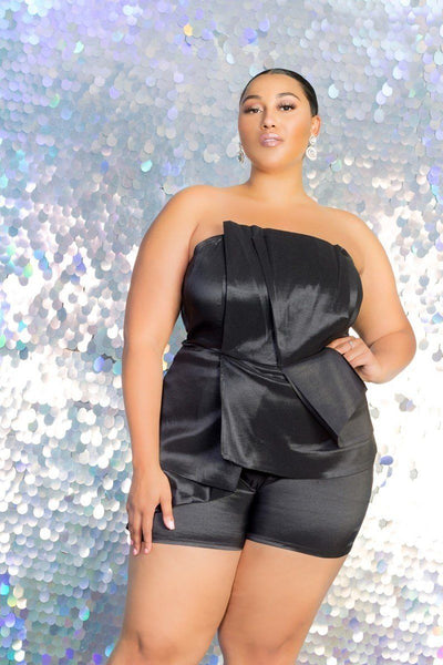 Plus Size Strapless Peplum Romper - Absolute Fashion 2020