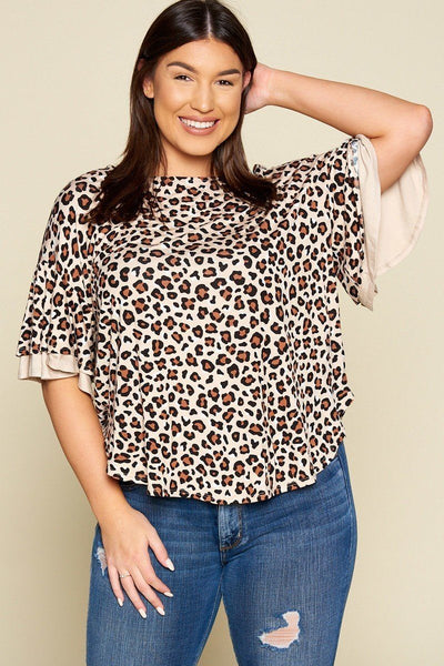 Plus Size Animal Print Swing Tunic Top With Contrast Color Block Bell Sleeves - Absolute Fashion 2020