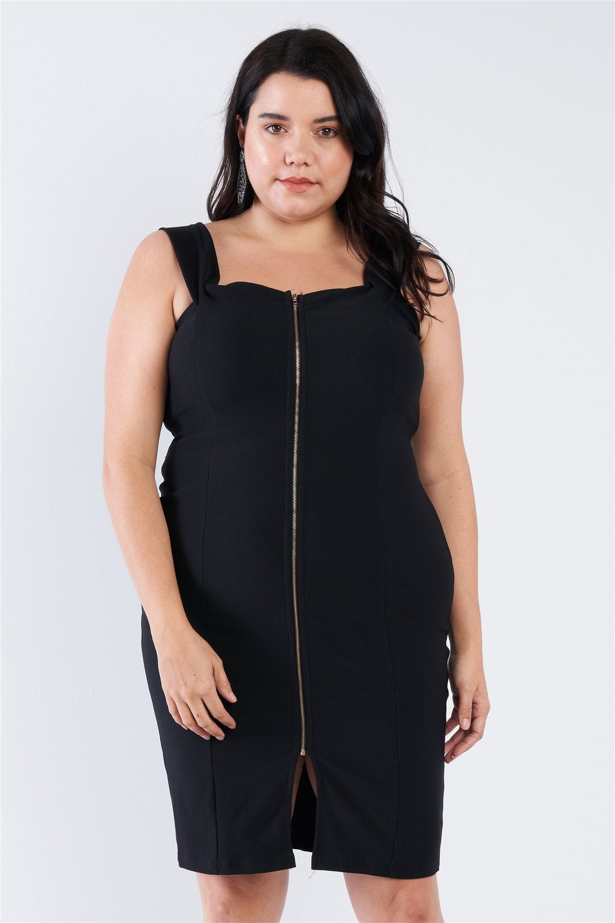 Plus Size  Front Zip Dress - Absolute Fashion 2020
