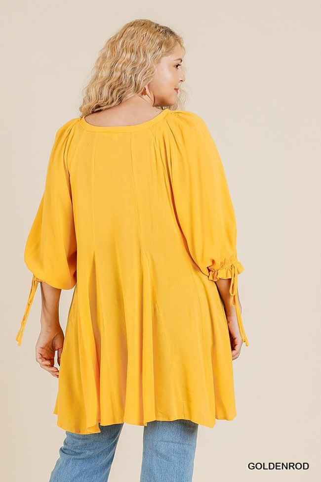 Ruffle Tie Sleeve Button Round Neck Tunic With High Low Hem - Absolute Fashion 2020