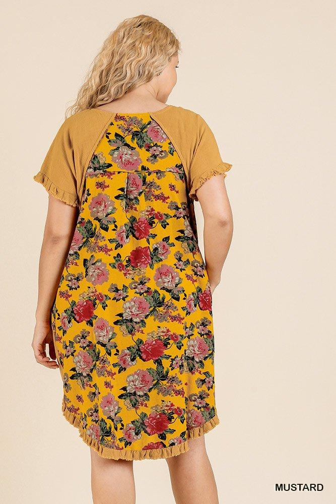 Short Sleeve Round Neck Dress With Floral Print Back And High Low Scoop Ruffle Hem - Absolute Fashion 2020