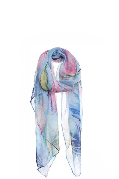Chic Soft Multi Color Feather Print Scarf - Absolute Fashion 2020