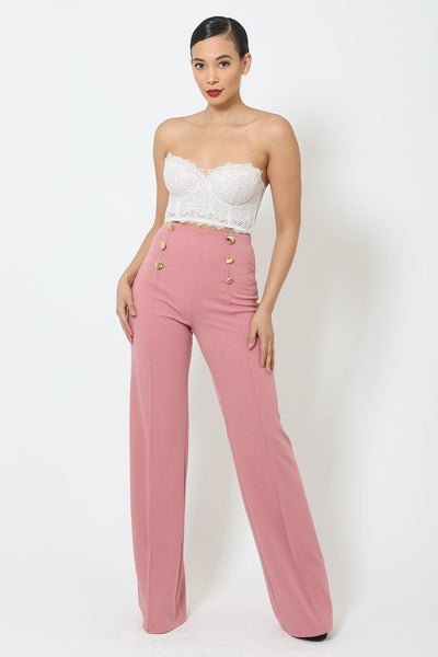 High-waist Crepe Pants With Buttons - Absolute Fashion 2020