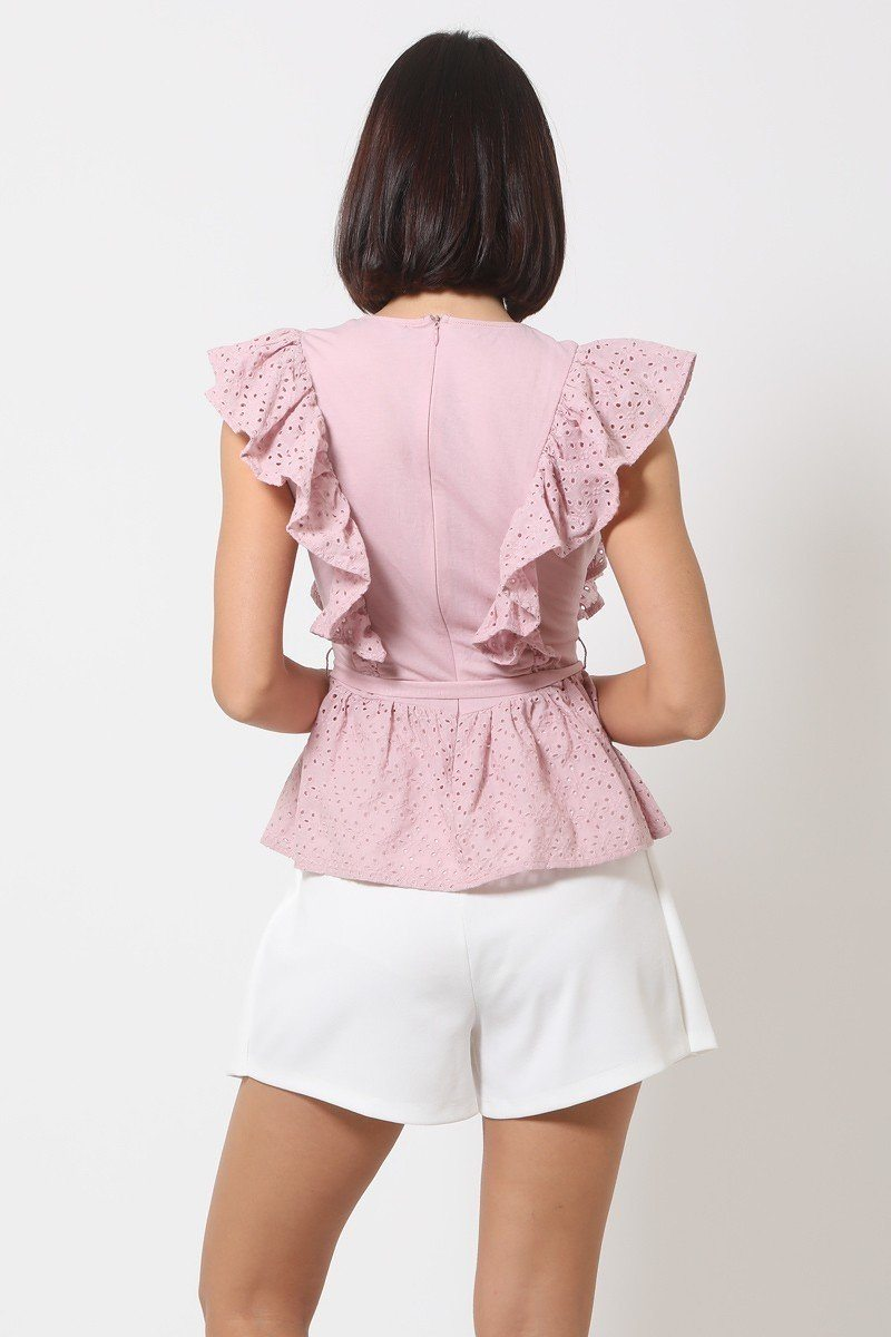 Crotchet Peplum Top W/ Self -front Tie - Absolute Fashion 2020