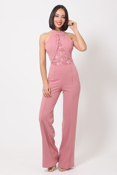 Halter Neck Jumpsuit W/ Criss Cross Front Tie Designs - Absolute Fashion 2020