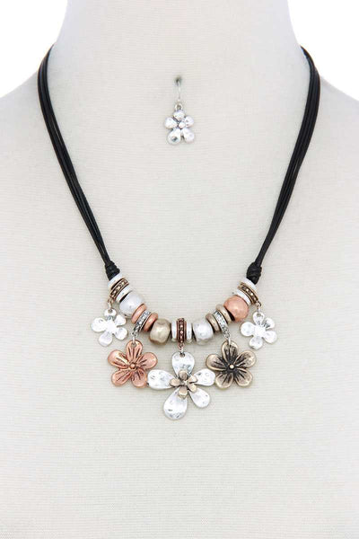 Tri Tone Flower Charm Pu Leather Necklace - Absolute Fashion 2020