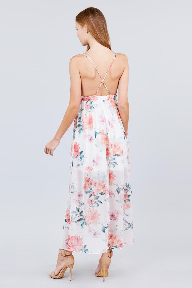 Deep V-neck W/cross Strap Print Maxi Dress - Absolute Fashion 2020
