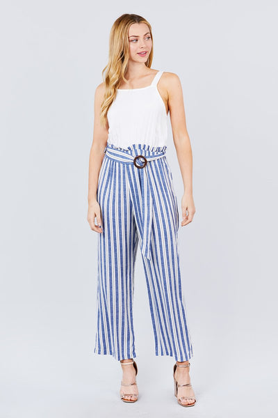 Straight Neck Waist Belted Stripe Long Jumpsuit - Absolute Fashion 2020