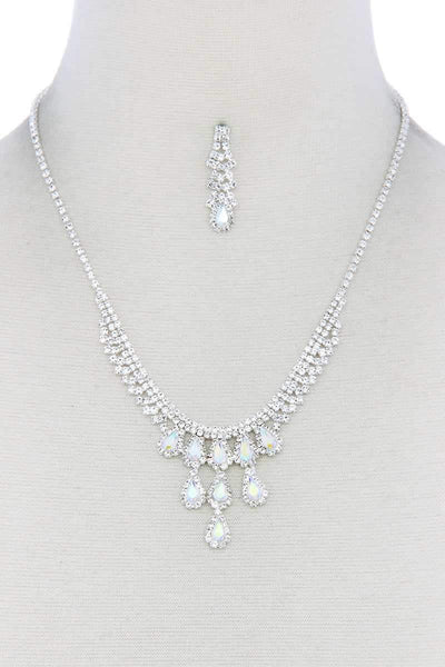 Rhinestone Teardrop Shape Necklace - Absolute Fashion 2020